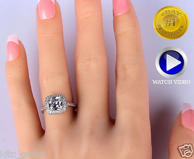 2.65 CT CUSHION CUT ENHANCED F/VS2 HALO SOLITAIRE ENGAGEMENT RING 14K WHITE GOLD