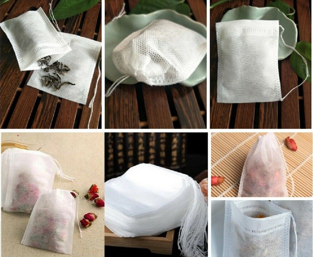 100 Pcs Non-woven Disposable Filter Empty Teabags Herb Loose Tea Bag 8*10 cm US Food & Beverages