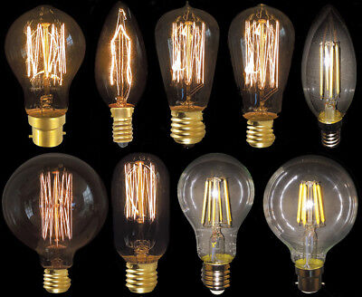 Vintage Light Bulb Antique Retro Christmas Edison Amber Filament Squirrel Cage