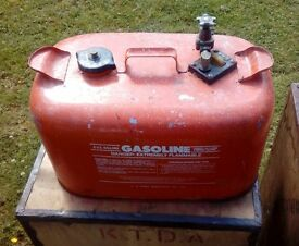 Vintage marine fuel tank with brass tap-US made-holds 5 Imp/6 US gallons. No holes-VGC