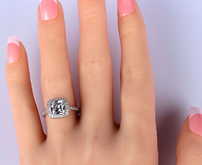 Engagement Ring Cushion Cut Diamond Halo 2 Ct D Solitaire 14k White Gold Bridal