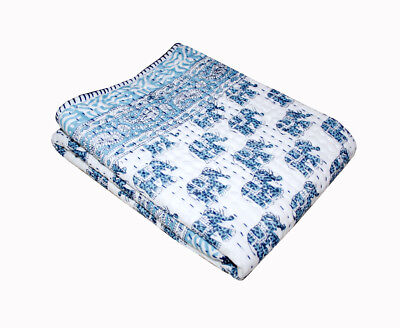 Hand Block Print Kantha baby Quilt Cotton Baby Wrap baby Kanth Throw Blanket  for sale  Shipping to India