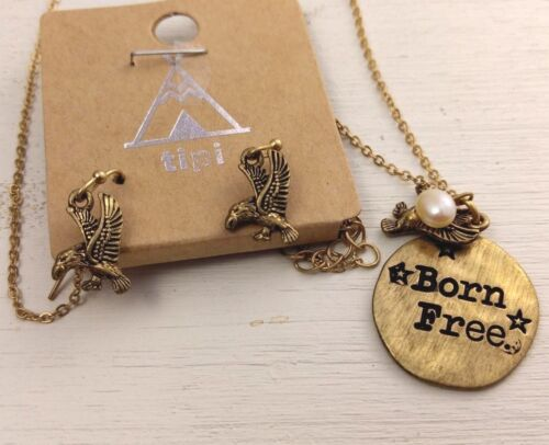 Born Free hammered gold necklace with pearl pendant and eagle earring set new