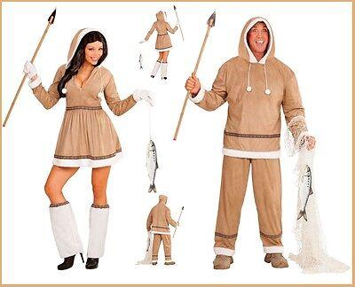 Eskimo Kostüm Damen Kleid Kostüm Herren Partnerkostüm Partner Set Karneval , (Eskimo Damen Kostüm)