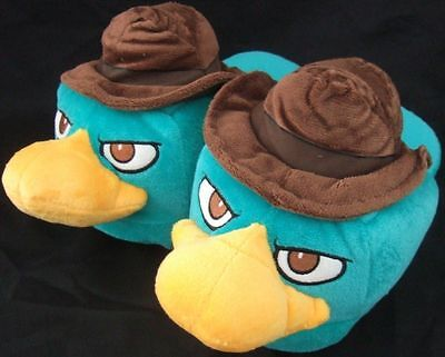 NWT Cute Adult Sm 5-6 Phineas & Ferb Agent Perry Character Plush Slippers Disney](Adult Disney Slippers)