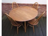 ERCOL Round Dining Table Drop Leaf 4 x Quaker Chairs