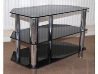 TELEVISION STAND Smoke Glass and Chrome Three Shelf Unit