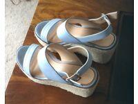 Ladies sky blue wedge sandals size 6