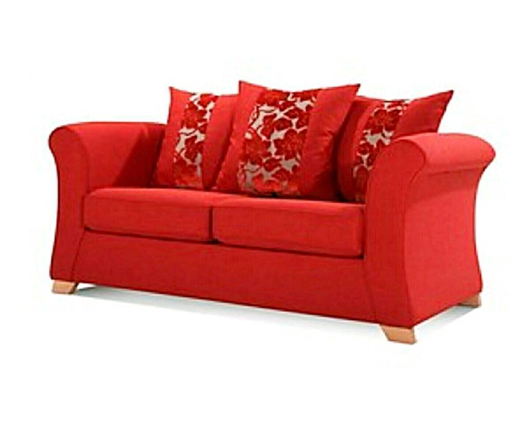 New Unused Dfs Nolan 2 Seater Sofa Bed Red Modern Fabric Cost 600 Bargain At 275