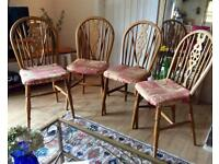Four pine dining chairs