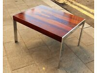 MID-CENTURY ROSEWOOD & CHROME SIDE TABLE - MERROW ASSOCIATES c1970