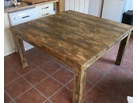 New Hand Made Large Rustic Square Plank Kitchen Table