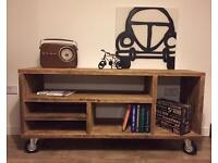 Beautiful extremely solid hand made industrial style tv cabinet- sizes upon request