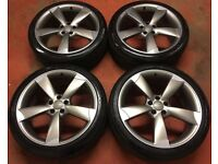 20'' GENUINE AUDI A6 S LINE BLACK EDITION ROTOR ALLOY WHEELS ALLOYS TYRES A4 A5 A7 TTRS