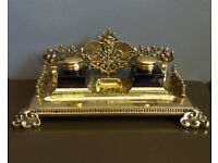 Victorian Aesthetic Brass Desk Stand, Inkwells and Quill Tray, Writing Antique.