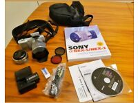 Sony NEX-3 Kit silver body with E-mountlens system. Includes everything you need to get started.