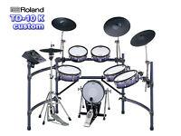 ROLAND TD-10 exp TDW-1 module & VH-11 hi hat electronic V-Drums kit in BLUE!!!