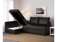 FAUX BLACK LEATHER SOFA BED WITH STORAGE