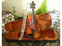 3/4 Boosey and Hawkes violin outfit. Set up and ready to play.