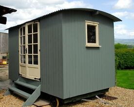 Shepherd's Hut - newly completed - wood clad exterior and interior - electrics/bed/kitchen