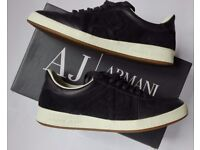 Mens Shoes Armani Jeans Leather Trainers Blu Maiolica 9.5 (EUR 44) Sneaker Low