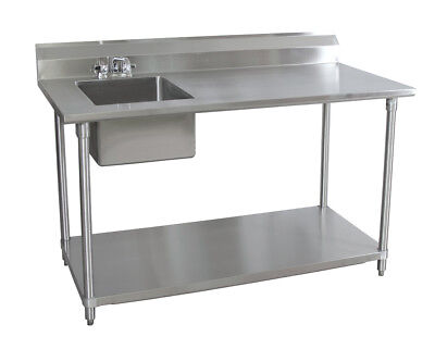 Bk Resources 72wx30d Stainless Steel Prep Table W Left Side Sink