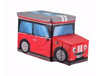 SALE *** Kids Children Storage Seat Ottoman Stool Books Toys Chest Box Boys Girls Bus Red £8.99
