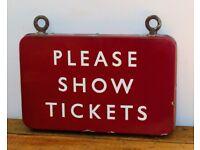 BR Midland Please Show Tickets British railway enamel sign rail train metal vintage antique decor
