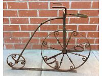 VINTAGE ANTIQUE CAST IRON PLANT POT HOLDER, PENNY FARTHING BICYCLE, GADREN PATIO DECORATION