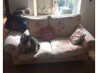 Sofa for sale, used but in good condition. Dog not included. Front two legs lower than back legs.