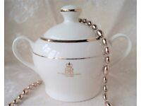 A Collectible white and gold bone china sugar bowl, Made For Queen's Golden Jubilee 1952-2002.
