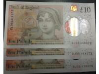 3 x new £10 notes rare sequential numbers