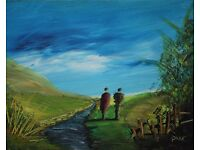 Irish Art LOVING COUPLE BY STREAM Original Oil Painting Artist PEARSE MCCALLION