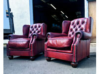 Pair of tetrad oscar red brown library chesterfield chairs DELIVERY AVAILABLE