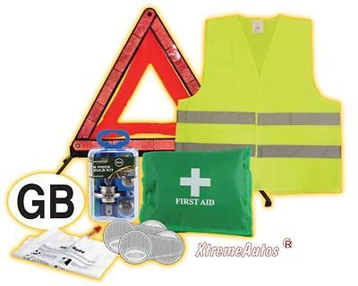 Selection of Universal Break Down European Travel Safety Kit Items   Must Have