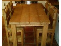 New Hand Made Rustic Plank Breakfast Bar Table & Chair Set