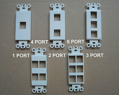 DECORA KEYSTONE JACK 1 2 3 4 6 PORT MODULAR WALL INSERTS COVER PLATE WHITE 2 Port Wall Plate Insert
