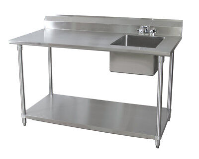 Bk Resources 30x60 Stainless Steel Work Table With Prep Sink On Right Wfaucet