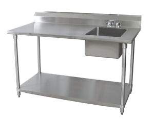 BK Resources 30x60 Stainless Steel Work Table with Prep Sink on Right w/faucet