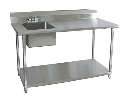 Bk Resources 60wx30d Stainless Steel Prep Table W Left Side Sink