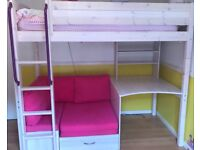 High sleep bed with desk, futon and storage