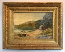 Scottish Antique Oil Painting by Thomas Hutchison Peddie - Salmon Fishing on River Tay 1894.