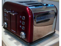 Morphy Richards Accents 4 Slice Toaster - Red & Brushed Steel --FAULTY