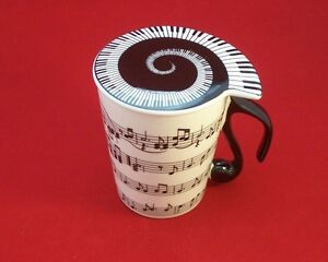 Ceramic Coffee Tea MUG WITH LID Horizontal Music Notes Musician Gift BOXED NEW