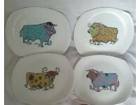 4 Retro Beefeater Steak and Grill Set plates by Ironstone for £15