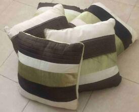 Cream/Green/Brown Cushions (x5)