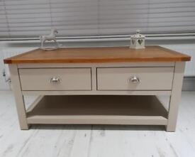Lundy Grey Coffee table, with Oak Top.