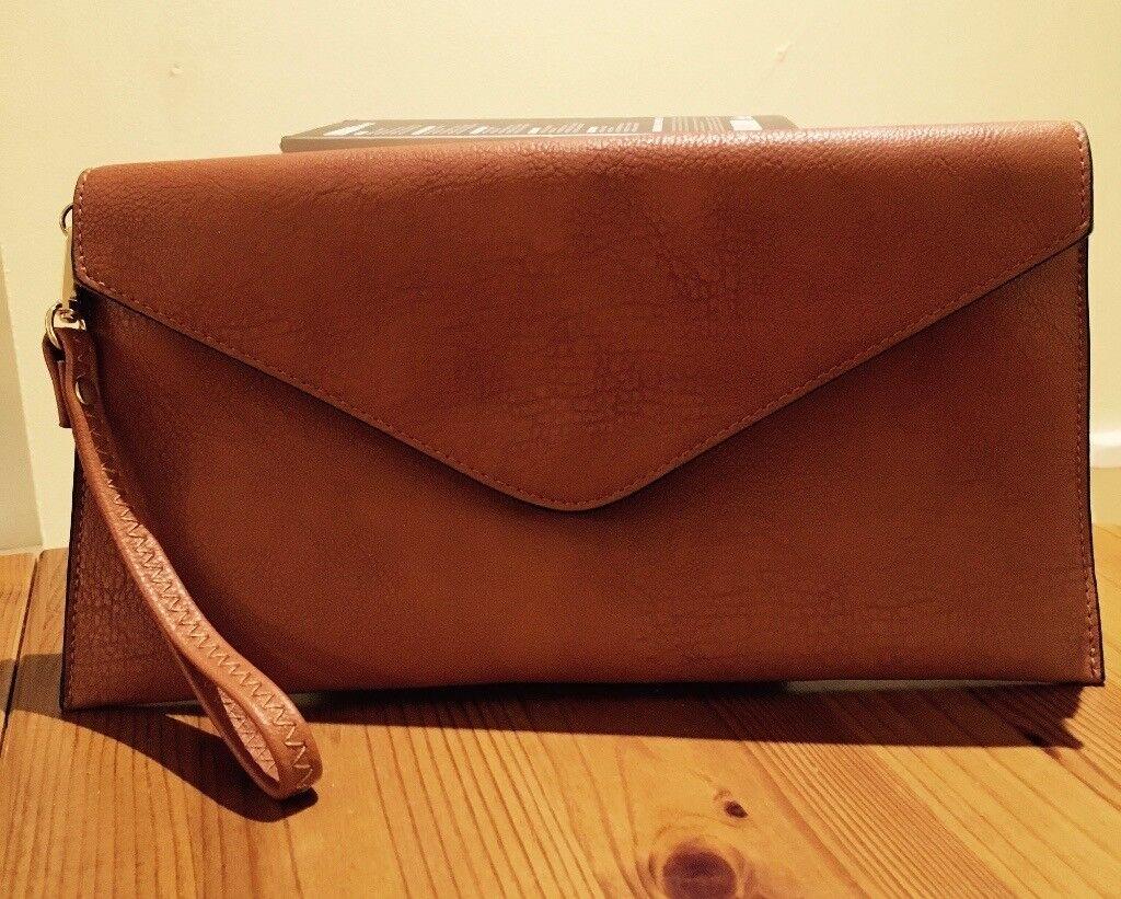 Handmade Brown Leather Envelop Clutch-bag