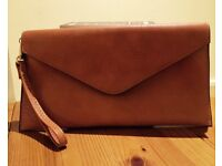 Handmade Brown Leather Envelop Clutch-bag