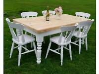 Very chunky shabby chic table and chairs CAN DELIVERY